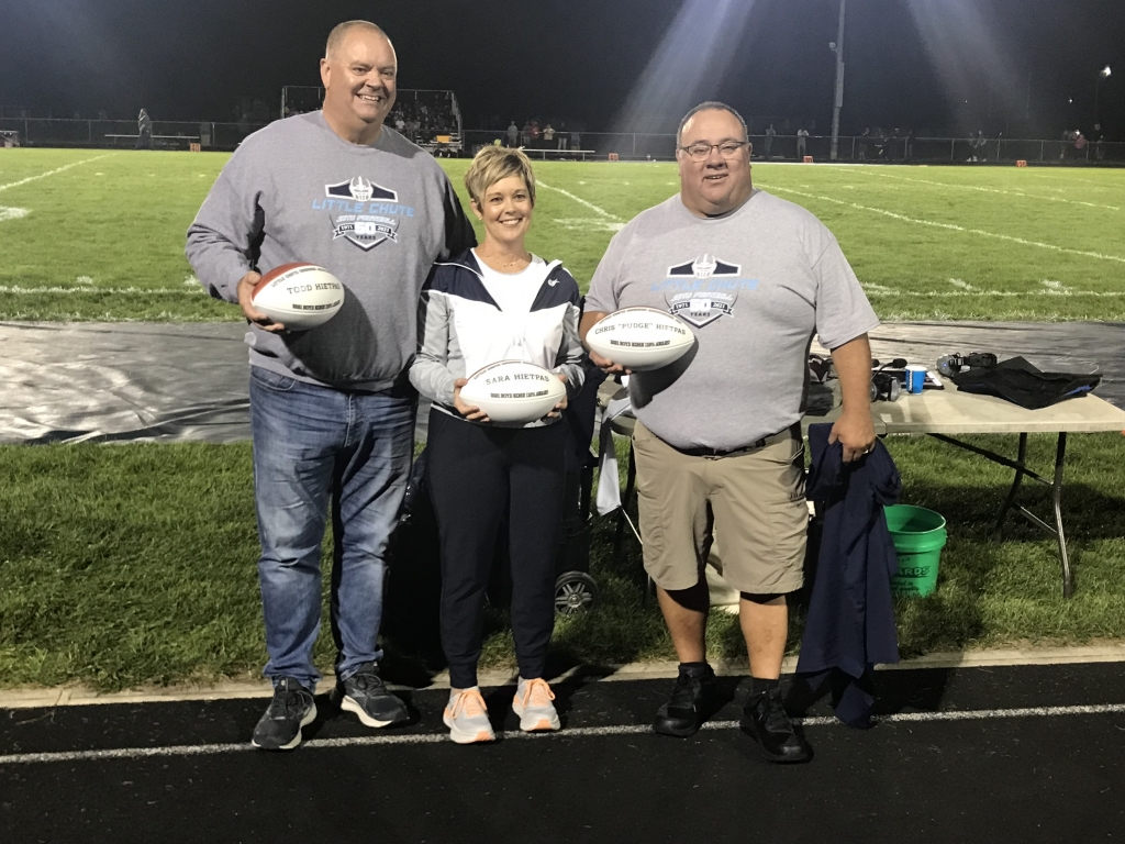 """Chris """"Pudge"""" Hietpas and Todd and Sara Hietpas were honored with the Little Chute Gridiron Association's 110 Percent Award for..."""